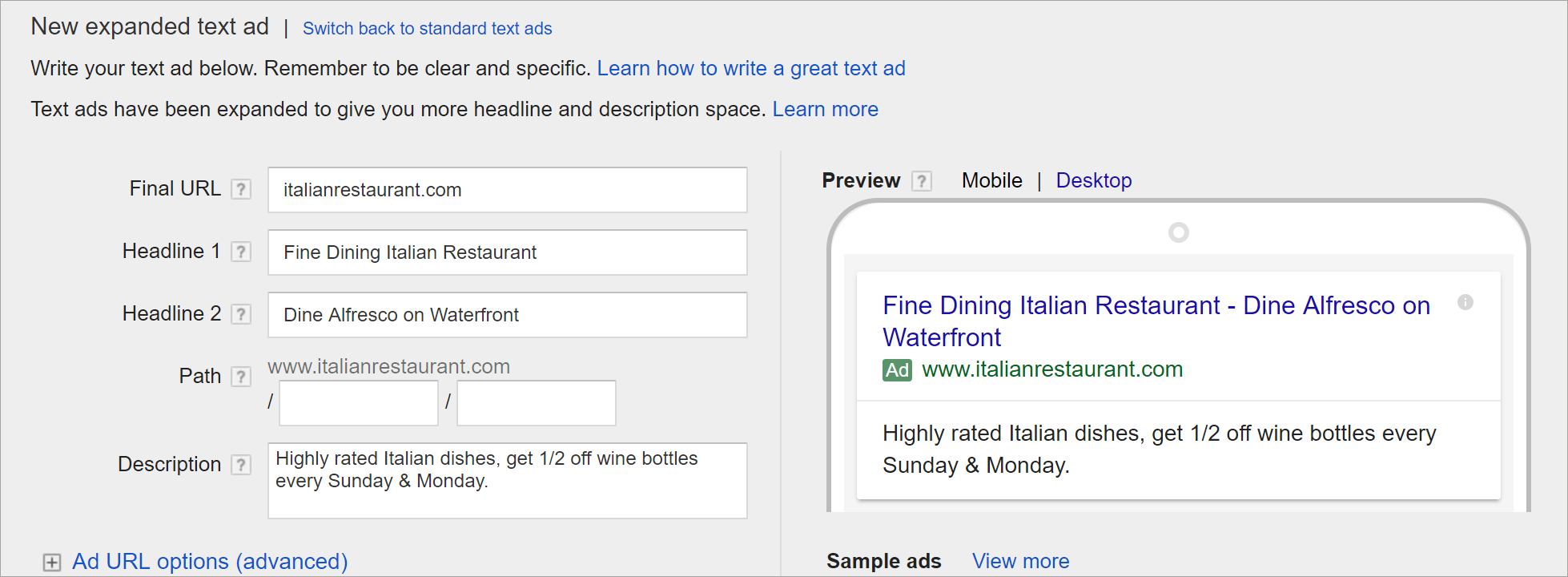 Adwords Ad Creation
