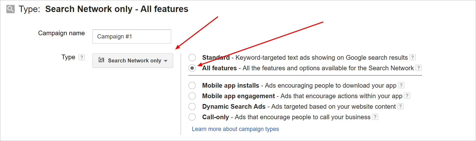 Adwords Campaign Type